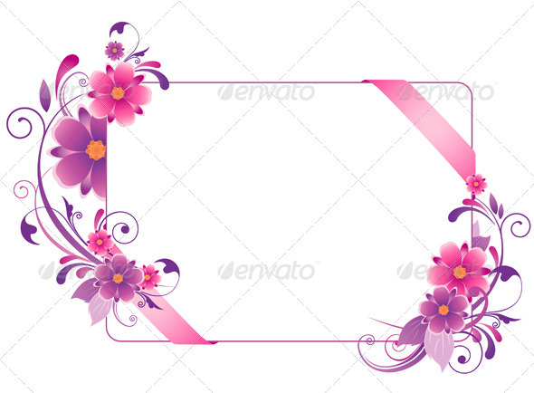 Banner with Pink Flowers - Backgrounds Decorative