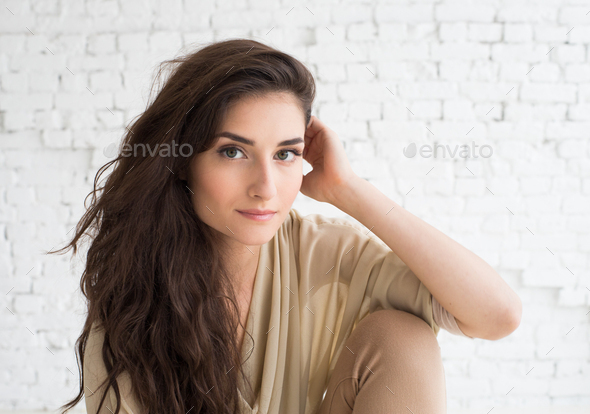 Woman portrait natural beautiful casual beautiful people - Stock Photo - Images