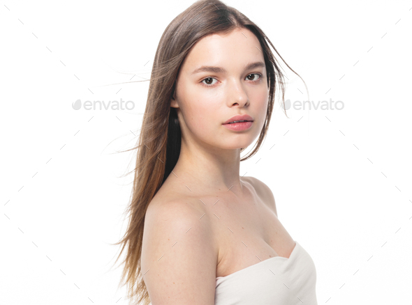 Portrait of beautiful woman beauty female model on white background - Stock Photo - Images