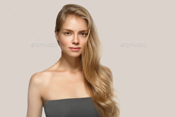 Blonde woman beauty make up natural beautiful female portrait - Stock Photo - Images