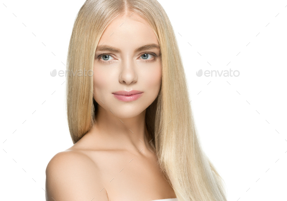 Woman with natural healthy skin and long blond hair beauty - Stock Photo - Images