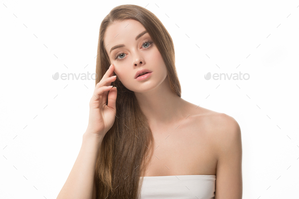 Long hair woman beauty healthy skin clean natural make up - Stock Photo - Images