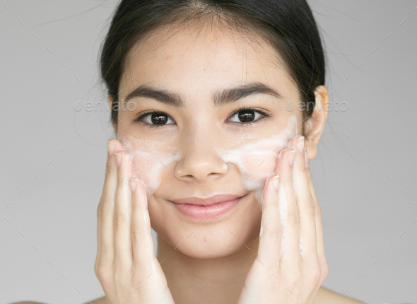 Soap face clean skin woman - Stock Photo - Images