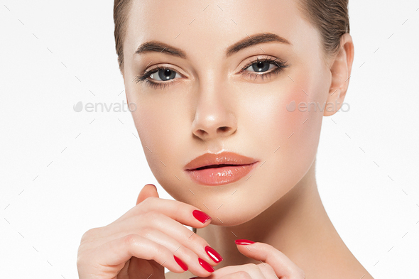 Beauty woman face clean healthy skin natural make up manicure nails - Stock Photo - Images