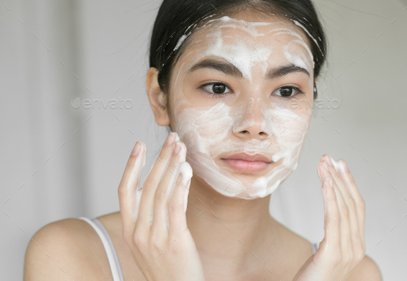 Soap face woman clean skin - Stock Photo - Images