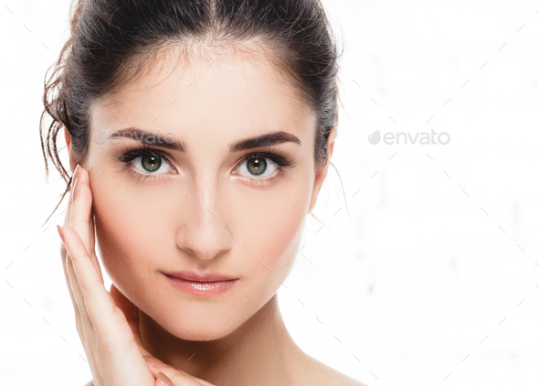 Beautiful woman face close up eyes beauty - Stock Photo - Images