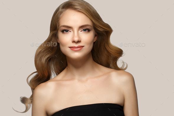Blonde hair woman natural make up - Stock Photo - Images