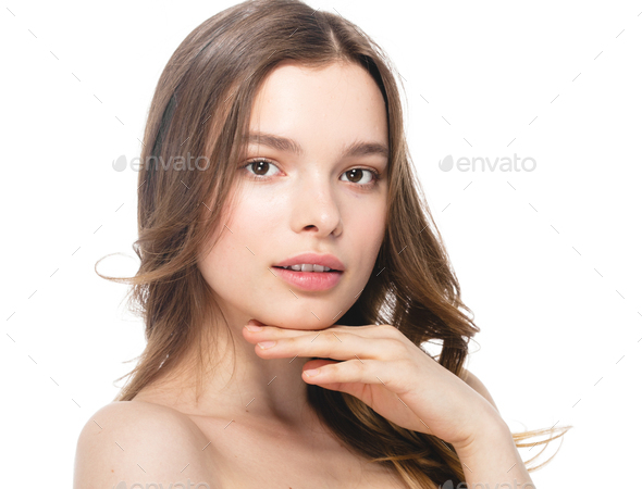 Beauty face woman clean healthy beautiful skin female - Stock Photo - Images