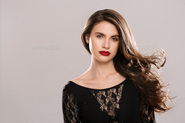 Beauty hairstyle woman long brunette hair beauty - Stock Photo - Images
