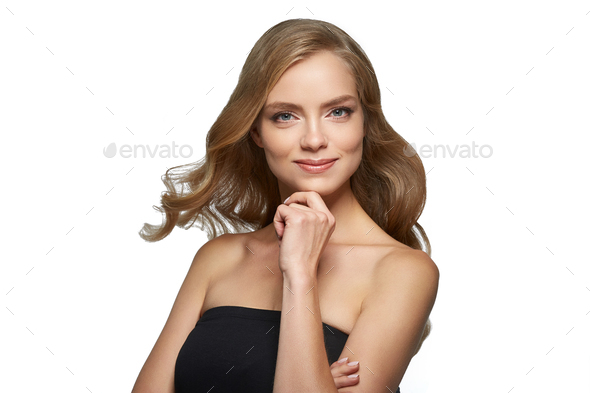 Blonde woman beauty make up natural beautiful female portrait - Stock Photo - Images