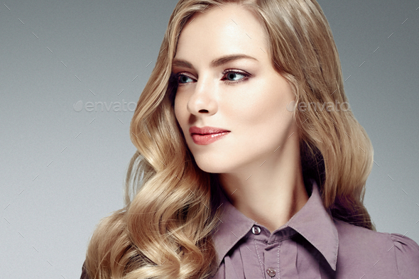 Beautiful woman with long blonde hairstyle - Stock Photo - Images