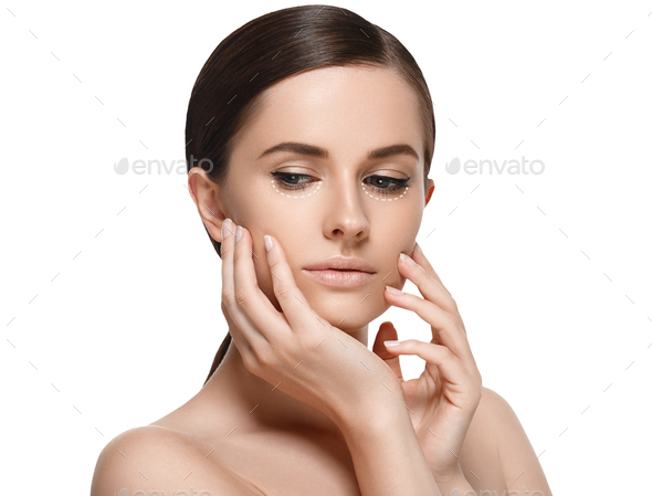 Woman cosmetic closeup beauty portrait. Studio shot. - Stock Photo - Images
