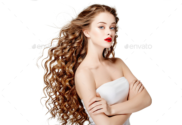 Curly hair woman beauty red lips perfect curly - Stock Photo - Images