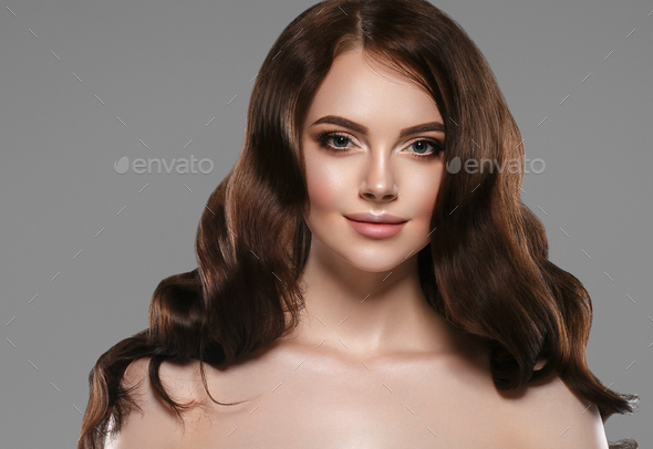 Beautiful air woman long curly hairstyle - Stock Photo - Images