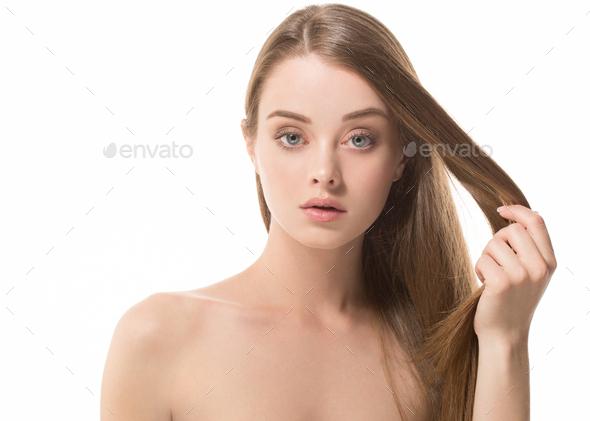 Long hair woman beauty healthy skin clean natural make up - Stock Photo - Images