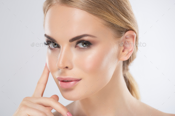 Beauty skin woman face healthy female skin care portrait - Stock Photo - Images
