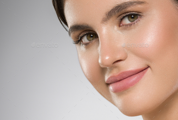 Woman face close up beauty macro eyes lips skin tone - Stock Photo - Images