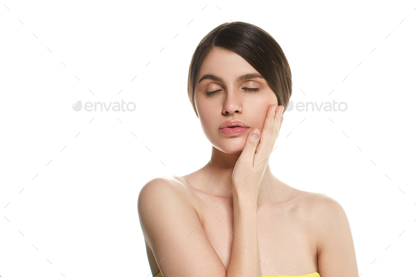 Woman beautiful skin healthy beauty face spa - Stock Photo - Images