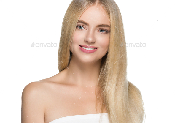 Teeth smile woman long blonde hair healthy skin - Stock Photo - Images