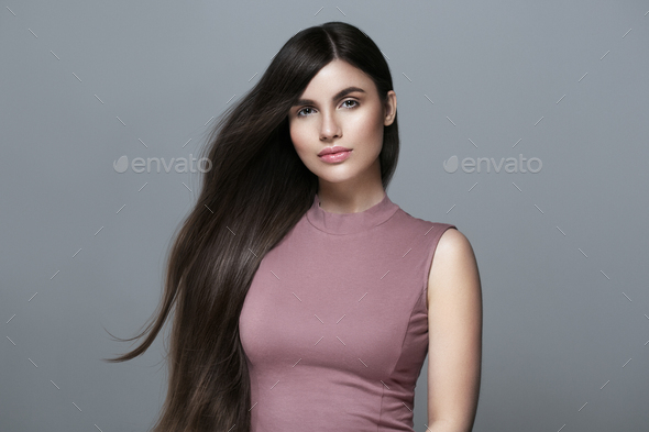 Beautiful perfect hair woman portrait. - Stock Photo - Images