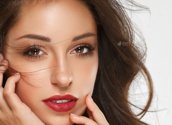 Beautiful woman skin red lips beauty female face smile - Stock Photo - Images