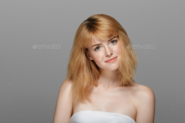 Beauty woman with red hair freckles skin - Stock Photo - Images