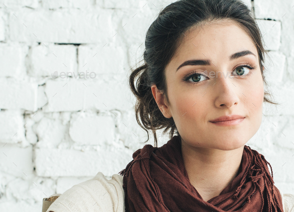 Natural woman beauty eyes smile female casual portrait - Stock Photo - Images