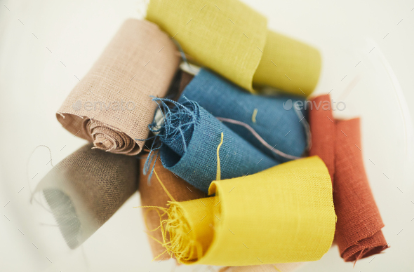 Colored scraps of fabric - Stock Photo - Images