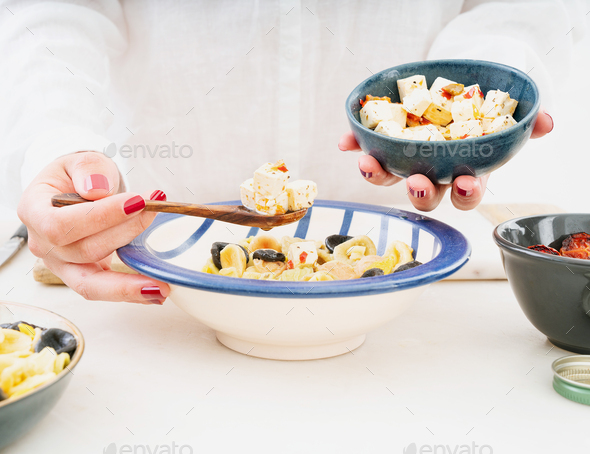 Traditional Italian Pasta salad. Cooking process. - Stock Photo - Images