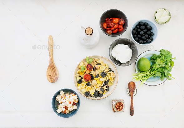 Traditional Italian Pasta salad. Add-ins. - Stock Photo - Images