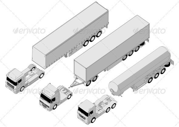 Semi Trucks Set - Man-made Objects Objects