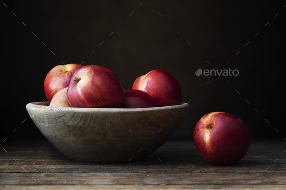 Fresh Nectarines in Bowl - Stock Photo - Images