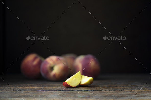 Two Nectarine Wedges - Stock Photo - Images