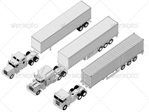 Semi Trucks Set - Man-made Objects Objects