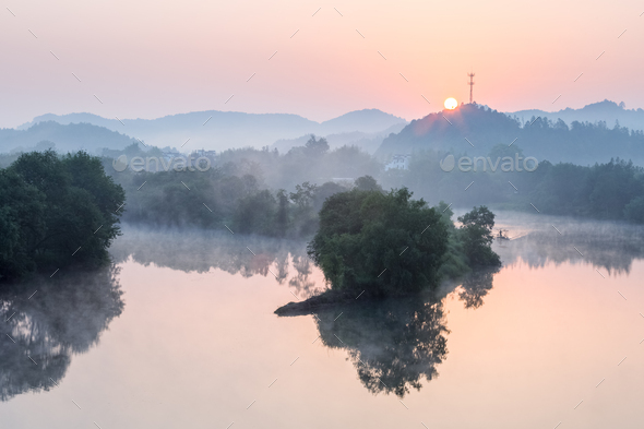 beautiful the moon bay in sunrise - Stock Photo - Images