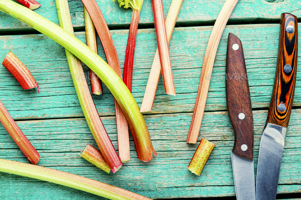 Fresh red rhubarb - Stock Photo - Images