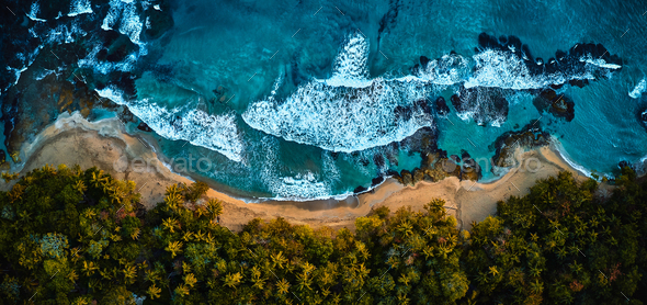 Aerial drone photo of paradise resort island with deep turquoise sea and beautiful white sand beach - Stock Photo - Images