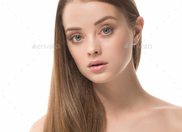Beautiful female young model healthy skin face - Stock Photo - Images