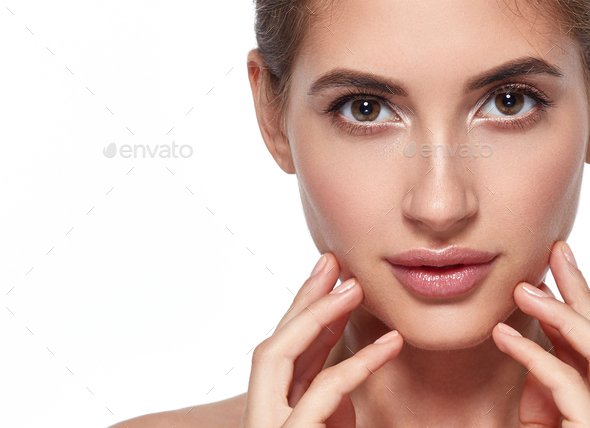 Woman beauty face skin care natural beautiful female portrait - Stock Photo - Images