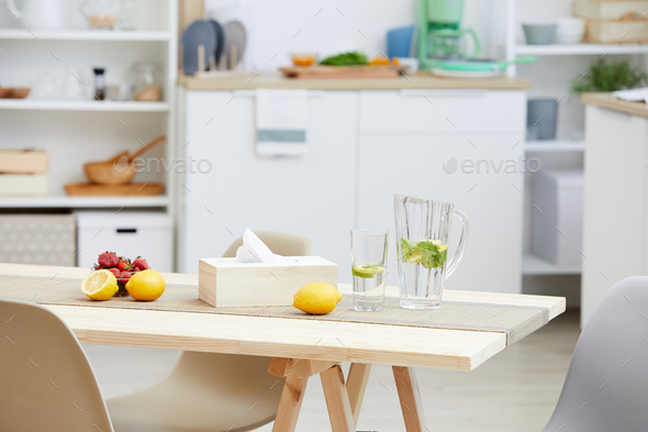 Fresh lemonade and fruits on the table - Stock Photo - Images