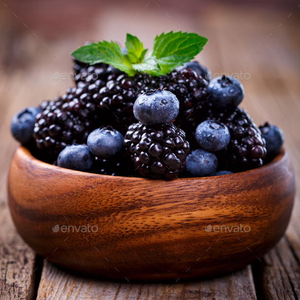 Blackberry and Blueberry .Fresh Berry.Food or Healthy diet - Stock Photo - Images
