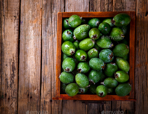 Feijoa Fruits. Fresh ripe sweet .Tropical fruit. - Stock Photo - Images