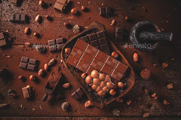 Dark chocolate chunks - Stock Photo - Images