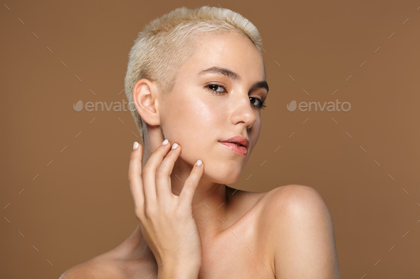 Close up beauty portrait of an attractive young blonde woman - Stock Photo - Images