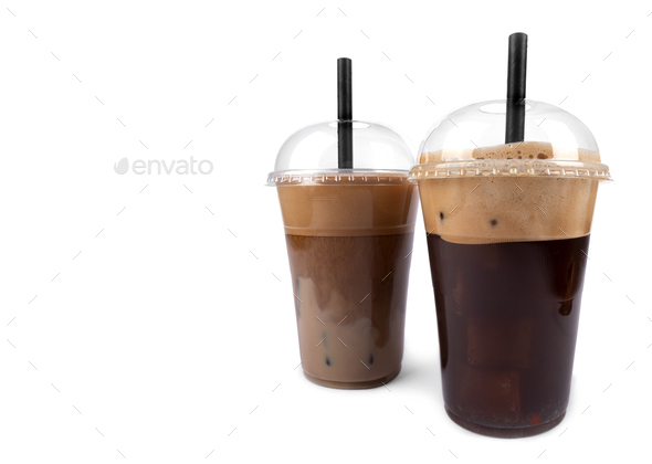 Frappe coffee on white background - Stock Photo - Images
