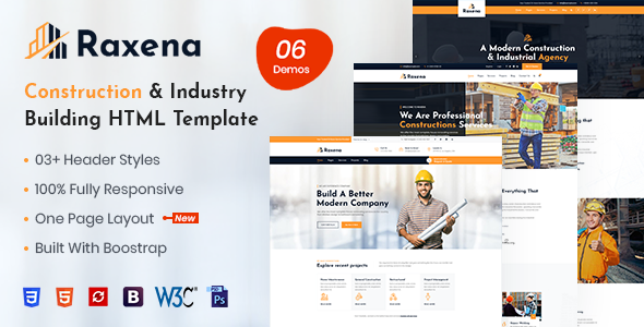 Raxena – Construction HTML Template
