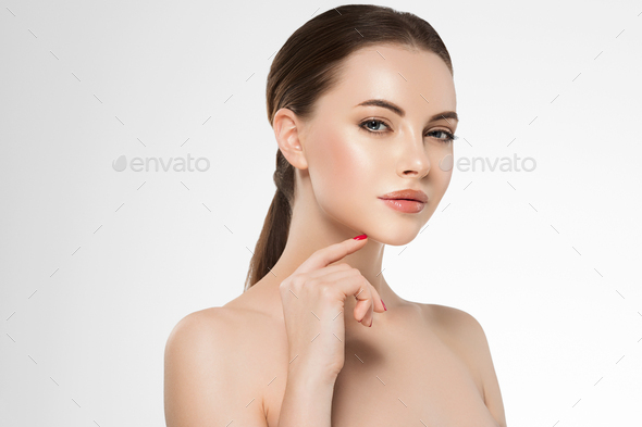 Woman face beauty manicure healthy skin natural makeup beautiful female color background - Stock Photo - Images