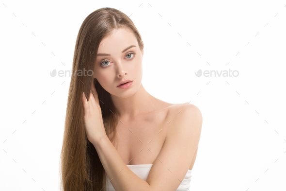 Beauty girl face portrait. Beautiful spa model woman  perfect healthy hair smooth. Skin care concept - Stock Photo - Images