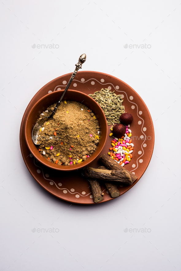 Indian mouth freshener Mukhwas or Masala Supari with basic ingredients - Stock Photo - Images