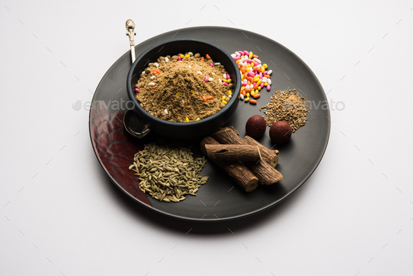 Indian mouth freshener Mukhwas or Masala Supari with basic ingredients - Stock Photo - Images